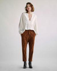 Nili Lotan Leather Paris Pant - Brown
