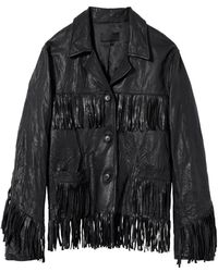 Nili Lotan Fringed Leather Jacket (final Sale) - Black