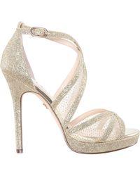 63ce20da844 Nina - Fenna-gold Glitter - Lyst. Nina - Fenna Strappy Platform Sandal ...