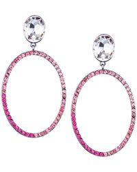 Nina Shelby Drop Earring-black Rhodium/rose - Pink