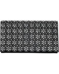 Nina Crystal Flower Embellished Clutch - Black