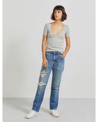 Ninetypercent Organic Cotton Ribbed V-neck T-shirt - Grey
