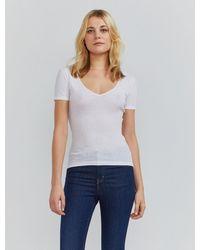 Ninetypercent - Organic Cotton Ribbed V-neck T-shirt - Lyst