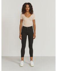 Ninetypercent Organic Cotton Ribbed V-neck T-shirt - Black