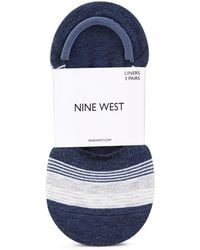 Nine West Pack Of 3 Striped Foot Liners - Blue