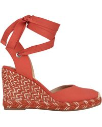 Nine West Friend Ankle Wrap Espadrille Wedge Sandals - Red