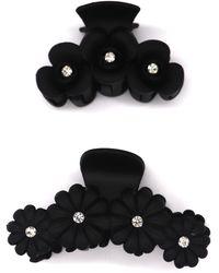 Tasha 2-pack Crystal Flower Jaw Hair Clips, Black