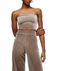 TOPSHOP Velour Tube Top - Gray