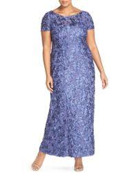 Alex Evenings - Rosette Lace Short Sleeve A-line Gown - Lyst