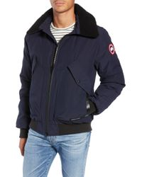 Canada Goose Bromley Slim Fit Down Bomber Jacket With Genuine Shearling Collar - Blue