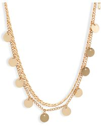 8 Other Reasons Get Your Sleek On Double Strand Disc Necklace - Metallic