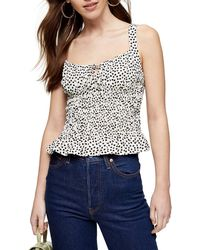 TOPSHOP Black And White Heart Print Shirred Cami