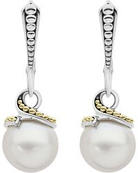 Lagos - Sterling Silver & 18k Yellow Gold Luna Cultured Freshwater Pearl Drop Earrings - Lyst