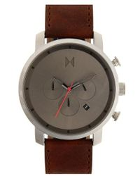 MVMT - Chronograph Leather Strap Watch - Lyst