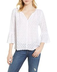 Velvet By Graham & Spencer - Eyelet Bell Sleeve Top - Lyst