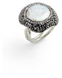 Elise M | Clarinet Mother-of-pearl & Crystal Adjustable Ring | Lyst
