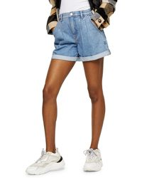 TOPSHOP Balloon Roll Hem Mid Stone Denim Shorts - Blue