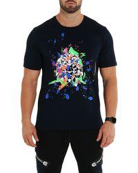 Maceoo Splash Lion Graphic Tee - Blue