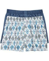 Hanro - 2-pack Fancy Woven Boxers, Blue - Lyst