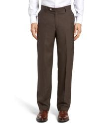 Berle - Flat Front Solid Wool Trousers - Lyst