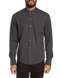 W.r.k. Reworked Slim Fit Dot Print Mixed Media Shirt - Gray