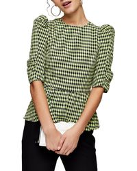 TOPSHOP Green Gingham Lace Up Puff Sleeve Blouse