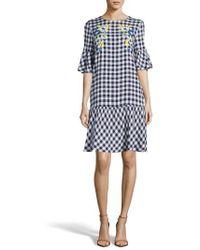 Eci - Embroidered Checker Shift Dress - Lyst