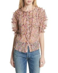 Rebecca Taylor - Margo Ruffle Floral Top - Lyst