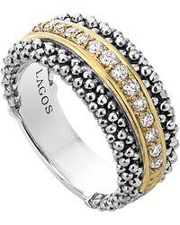 Lagos - Diamonds & Caviar Ring - Lyst