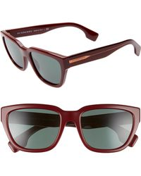 3229f830153 Burberry - 54mm Square Sunglasses - Bordeaux  Grey Solid - Lyst