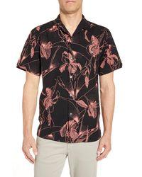 Tori Richard Adaptation Regular Fit Short Sleeve Silk Blend Button-up Shirt - Black