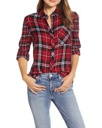 Beach Lunch Lounge Plaid Button-up Shirt - Red