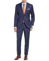 David Donahue Ryan Classic Fit Plaid Wool Suit - Blue