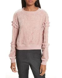 Cinq À Sept - Nara Embroidered Velvet Sweatshirt - Lyst