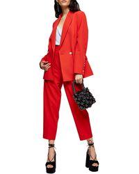 TOPSHOP Kiki Peg Pants - Red