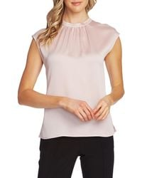 Vince Camuto Pleated Neck Blouse - Pink