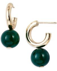 Loren Stewart Planeta Sphere Drop Huggie Hoop Earrings - Green