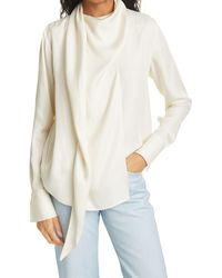 Rag & Bone Halle Silk Blend Blouse Relaxed Fit Top - White