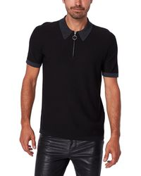 PAIGE Ethan Quarter Zip Ribbed Polo - Black