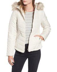 Maralyn & Me - Water-resistant Hooded Coat With Faux Fur Trim - Lyst