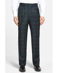 Berle | Pleated Plaid Wool Trousers | Lyst