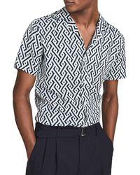 Reiss Uptown Geo Print Short Sleeve Button-up Camp Shirt - Blue
