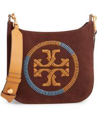 2e332a42b Tory Burch - Ella Whipstitched Logo Leather Crossbody Bag - Lyst