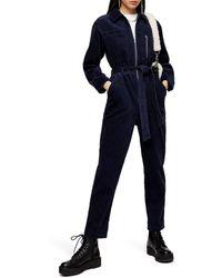 TOPSHOP Navy Corduroy Boiler Suit - Blue