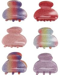 Cara - 6-pack Small Rainbow Glitter Jaw Clips, Pink - Lyst