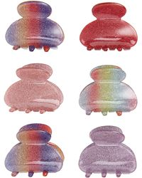 Cara 6-pack Small Rainbow Glitter Jaw Clips, Pink