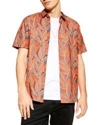 TOPMAN Slim Fit Leaf Print Short Sleeve Button-up Shirt - Orange