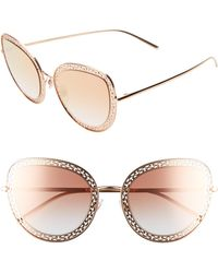 ebde60f1363f Lyst - Dolce   Gabbana Rose Gold Round Crystal Sunglasses in Pink