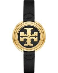 Tory Burch Miller Watch, Black Leather/gold, 36 Mm - Metallic