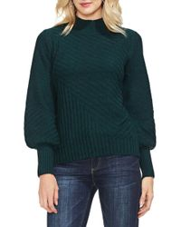 Vince Camuto - Mix Cable Balloon Sleeve Cotton Blend Sweater - Lyst